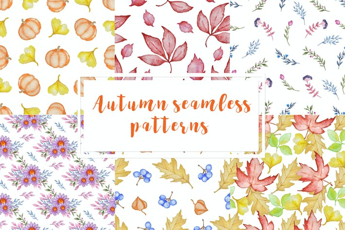 Thumbnail for Set of Autumn Seamless Patterns