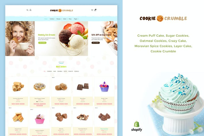 Thumbnail for Cookie Food | Bakery, Cookie, Food Product Shopify