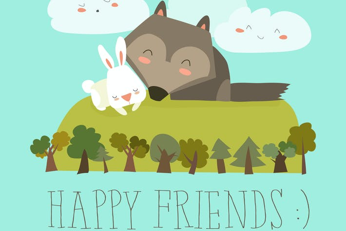 Thumbnail for Happy friends in the forest. Wolf,rabbit. Vector
