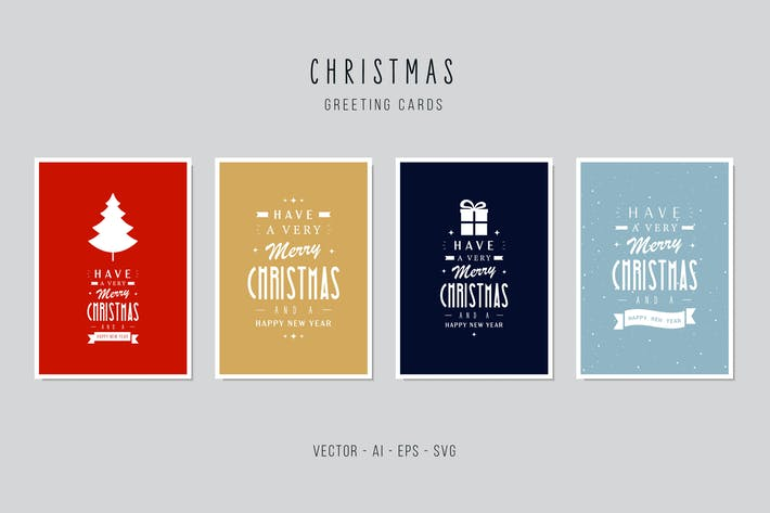Thumbnail for Christmas Greeting Vector Card Set