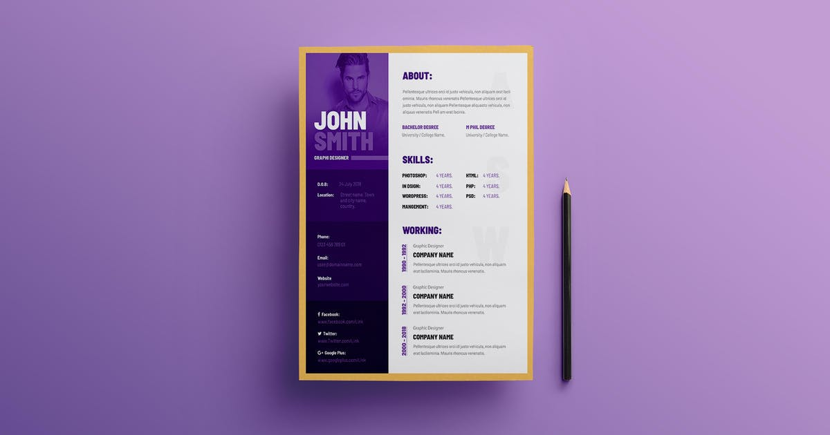 Creative Resume Cv Template By Websroad On Envato Elements