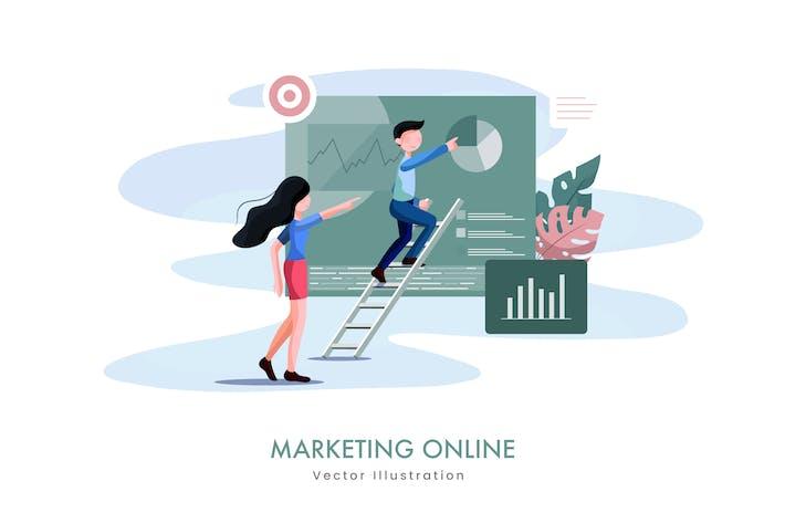 Thumbnail for Illustration Vecteur marketing en ligne