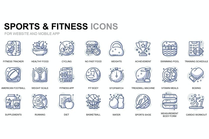 Thumbnail for Sport and Fitness Thin Line Icons