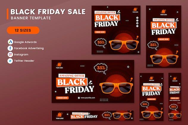 Black Friday Sale Fashion Banner Set Template