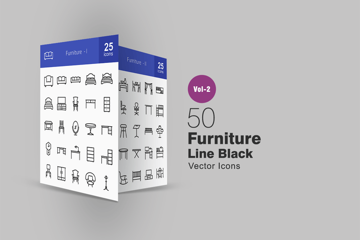 Thumbnail for 50 Furniture Line Icons