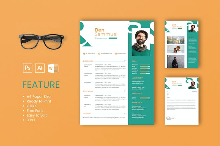 Cover Image For Professional CV And Resume Template Sam