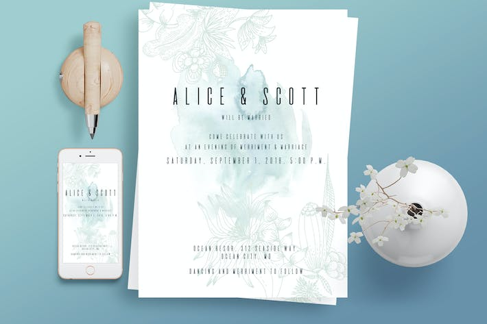 Thumbnail for Blue Watercolor Wedding Invitation