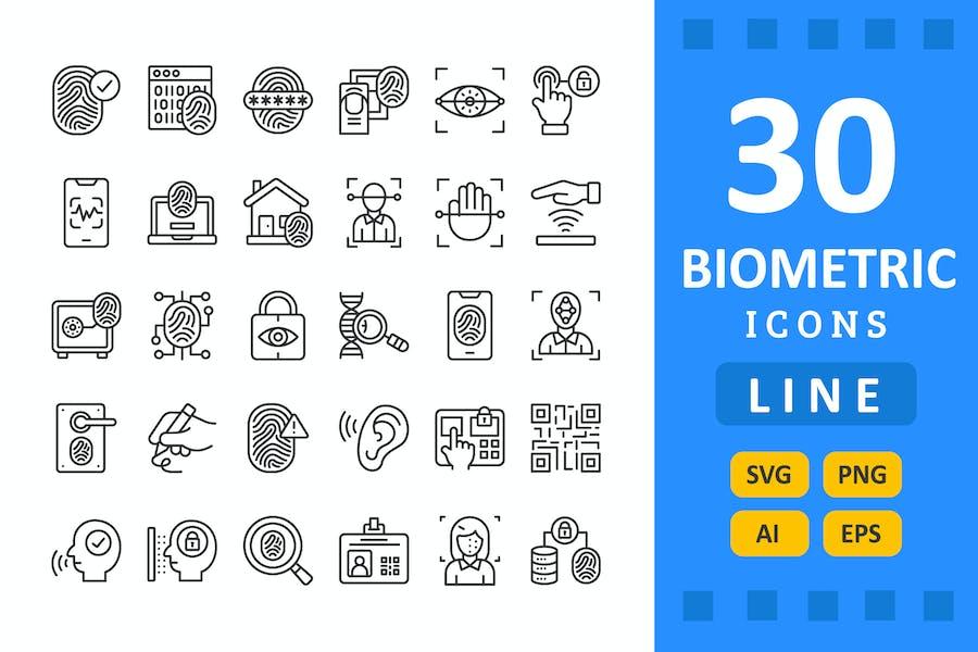 30 Biometrics Icons - Line