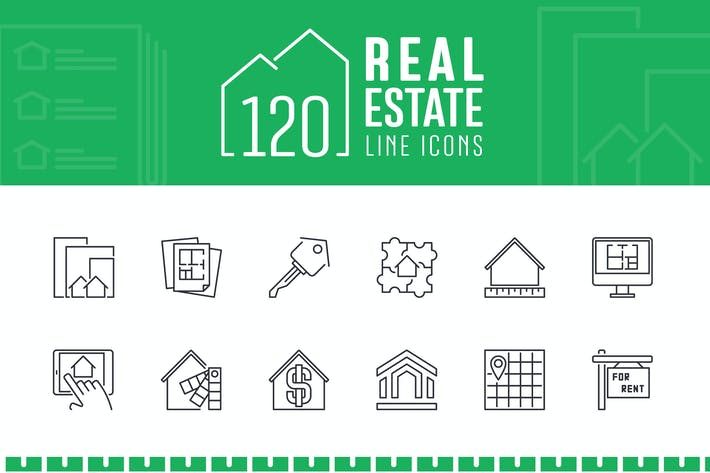 Thumbnail for 120 Real Estate Line Icons