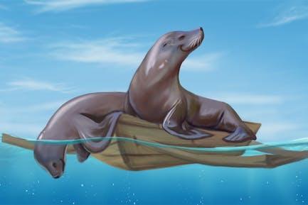 Dichtungen auf einem Wasserfahrzeug handgezeichnet Digitalmalerei