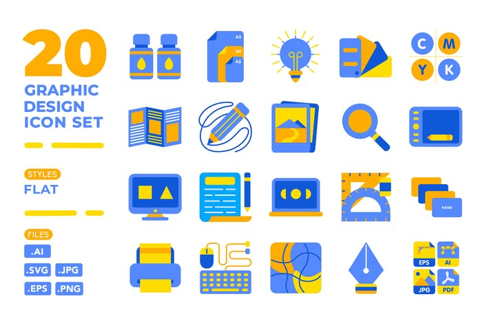 Thumbnail for Graphic Design Icon Set (Flat)