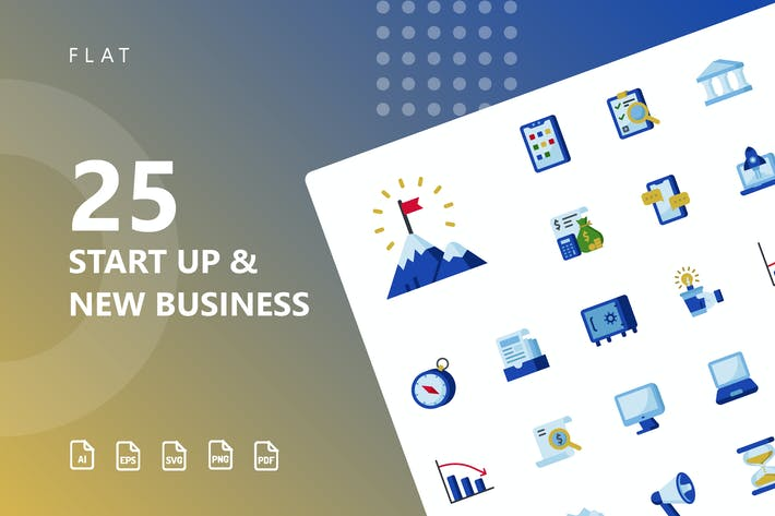 Thumbnail for Start Up & Business Flat Icons