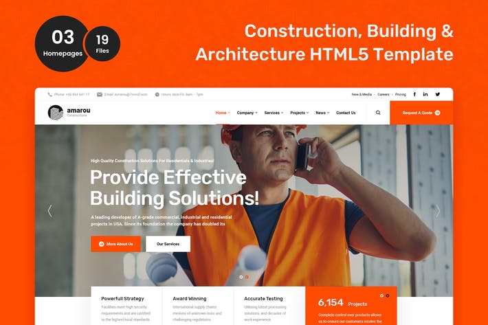 Thumbnail for Amarou - Modèle HTML5 Construction et Construction