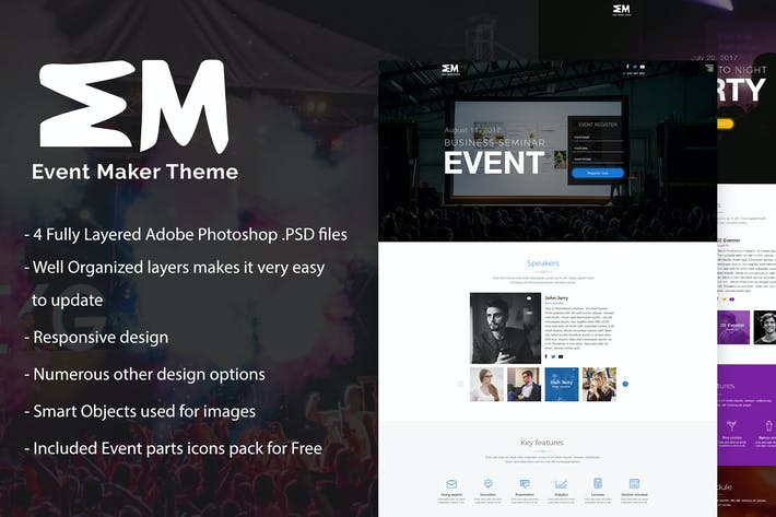 Thumbnail for Event Maker - Events & Seminars PSD Template