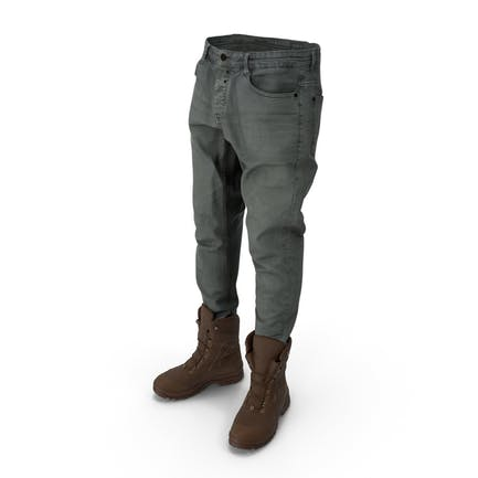 Mens Jeans Boots Grey Brown