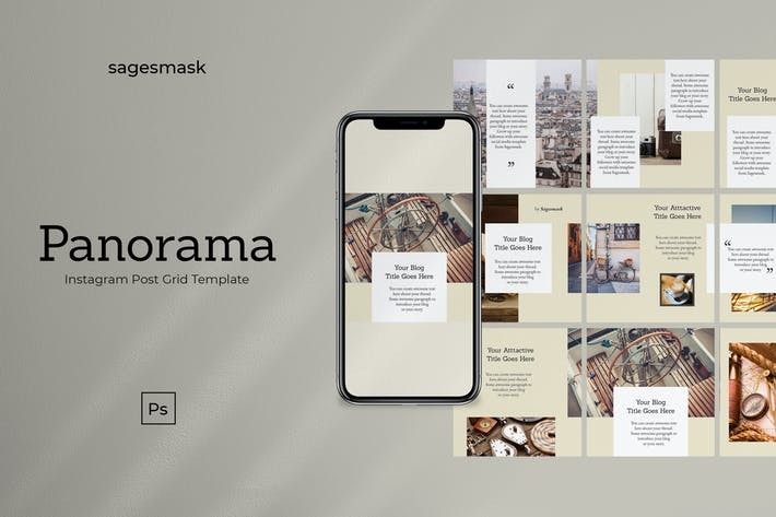 Thumbnail for Panorama Instagram Post Grid Template