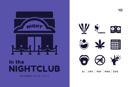 36 In the Nightclub Icons Solid Style