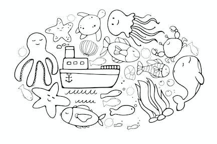Ozeanische Doodles