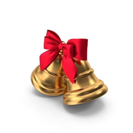 Два рождественских колокола с красной лентой