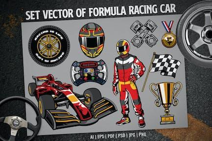conjunto de Vector de coche de carreras de fórmula