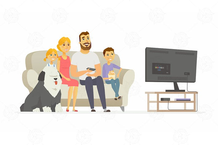 Thumbnail for Happy family watching TV - vector illustration