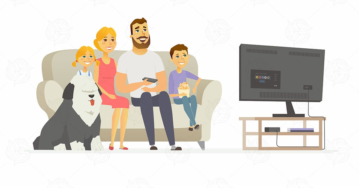 Download Happy family watching TV - vector illustration by BoykoPictures