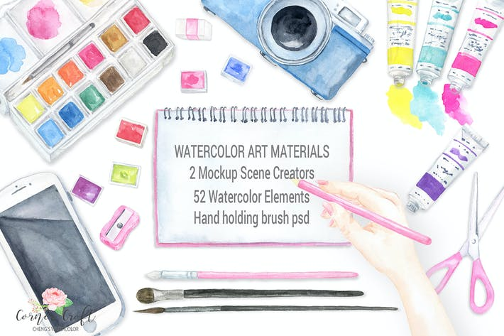 Thumbnail for Watercolor art material mockups
