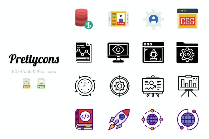 Thumbnail for Prettycons - 200 Web & Seo Icons Vol.1