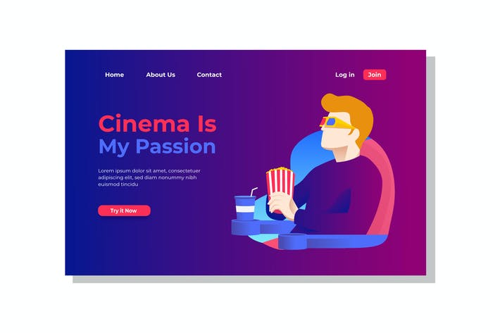 Thumbnail for Cinema is My Passion Landing Page Illustration