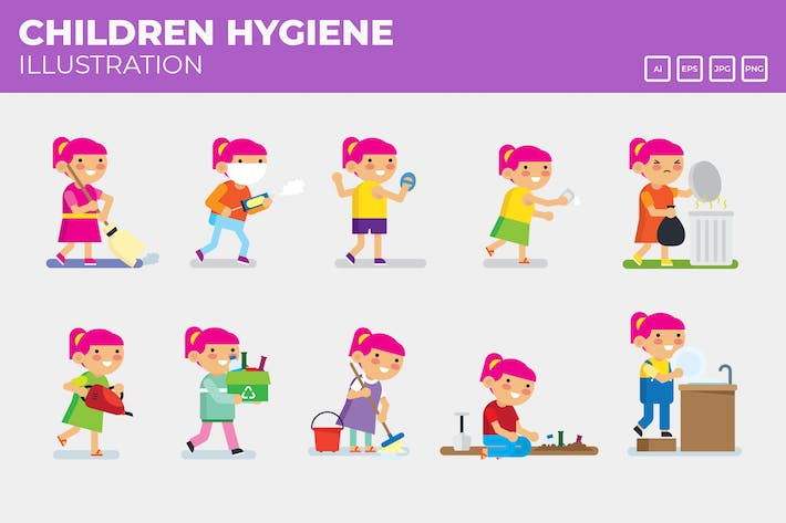 Thumbnail for Hygiene campaigns, Kids doing house cores