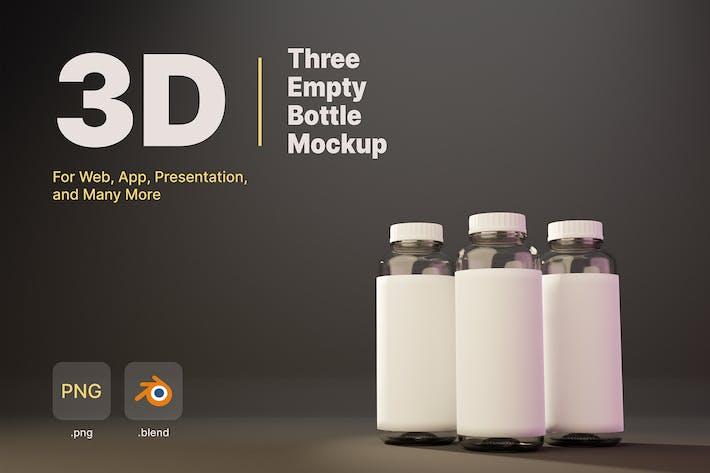 3D Three Empty Bottle Mockup