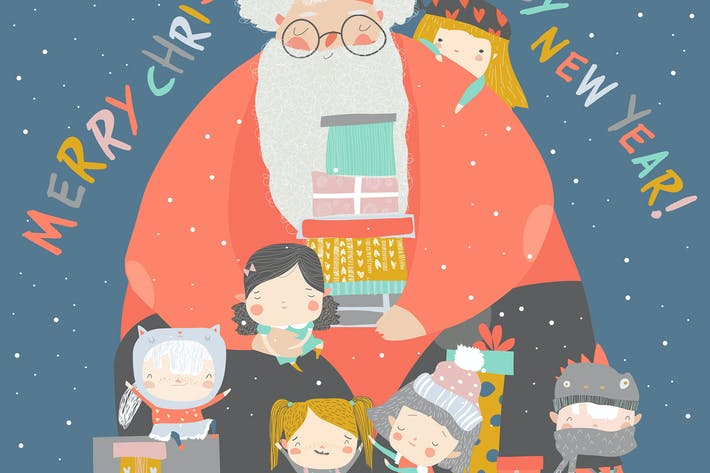 Thumbnail for Cartoon Santa Claus with children and gifts.