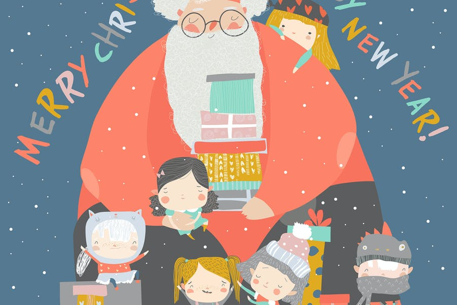 Cartoon Santa Claus with children and gifts.  - product preview 0