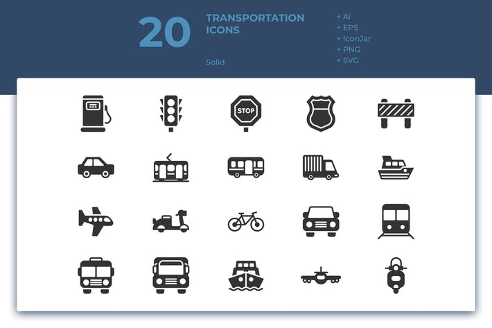 Thumbnail for 20 Transportation Icons (Solid)