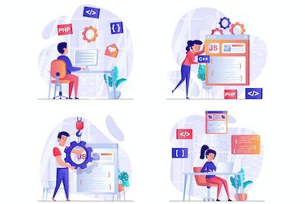 Programming Software Scenes Web Illustrations Set