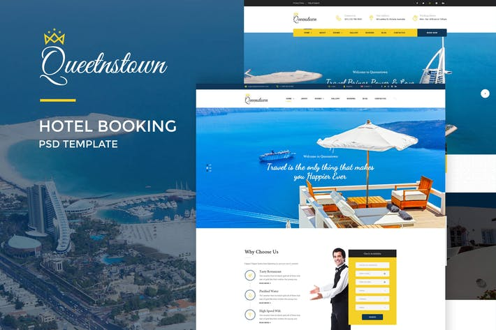 Thumbnail for QueensTown : Hotel Booking PSD Template