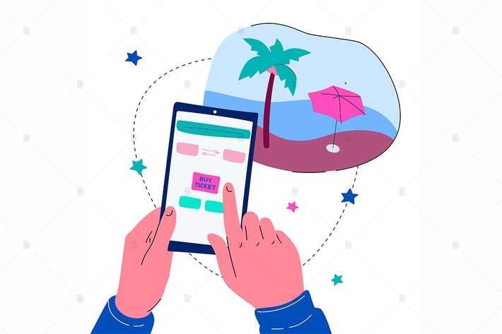 Thumbnail for Buying flight tickets online - flat illustration
