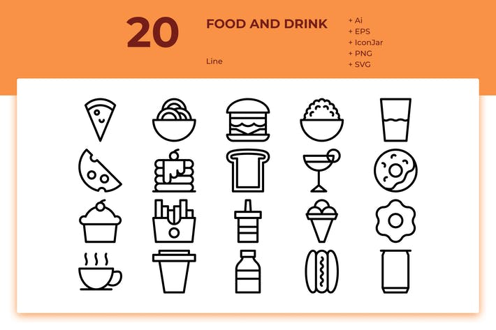 Thumbnail for 20 Food & Drink Icons (Line)