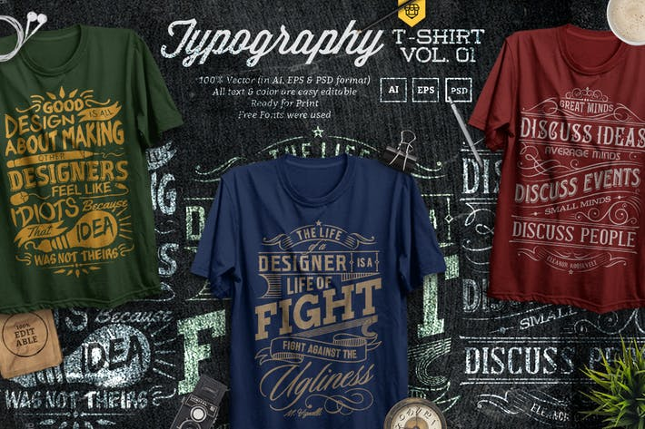Thumbnail for 3 Quote Typography T-Shirts Vol.01