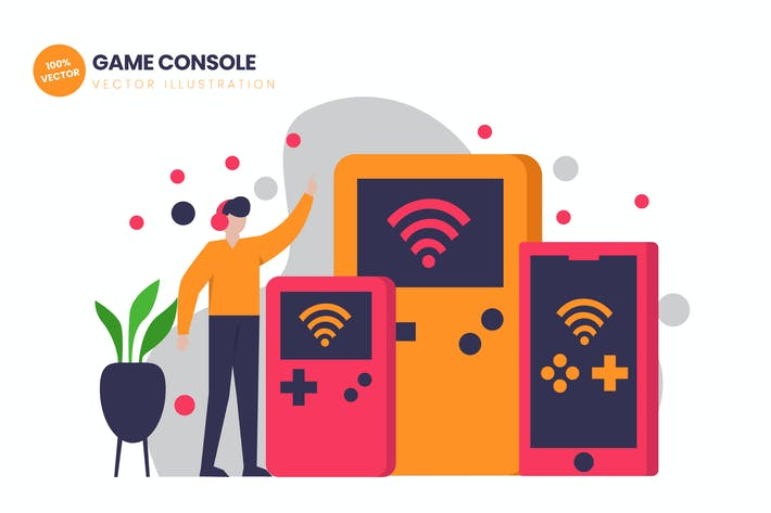 Thumbnail for Game Console Flat Vector Illustration