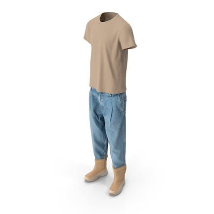 Herren Jeansstiefel T-shirt Beige Blau