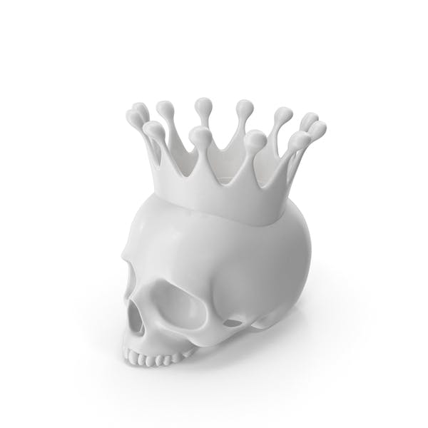 White Skull Head Candle with Crown