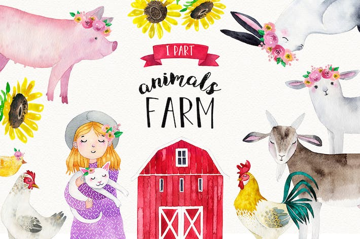 Thumbnail for FARM ANIMALS watercolor set PART 1