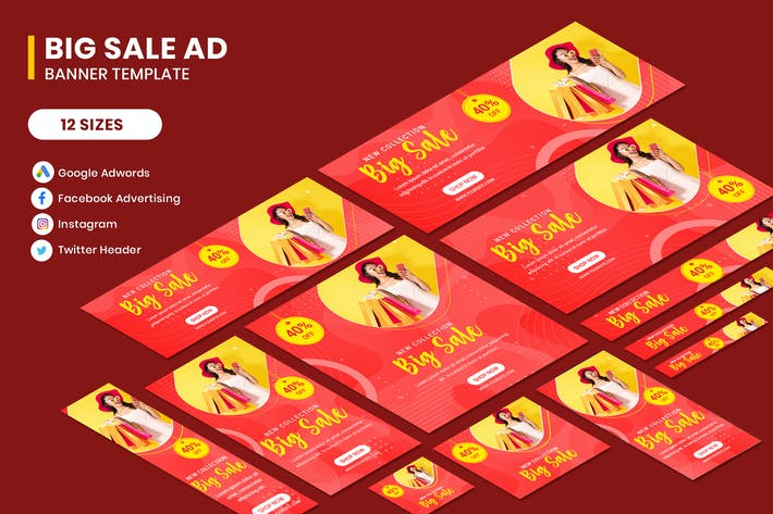 Thumbnail for Big Sale Google Adwords Banner Template