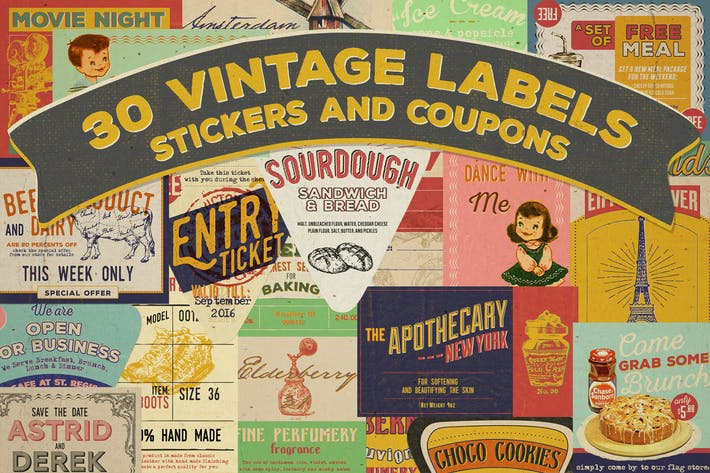 Thumbnail for 30 Vintage Label, Sticker and Coupon