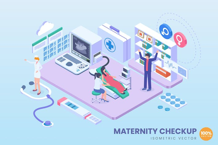 Thumbnail for Isometric Maternity Checkup Vector Concept