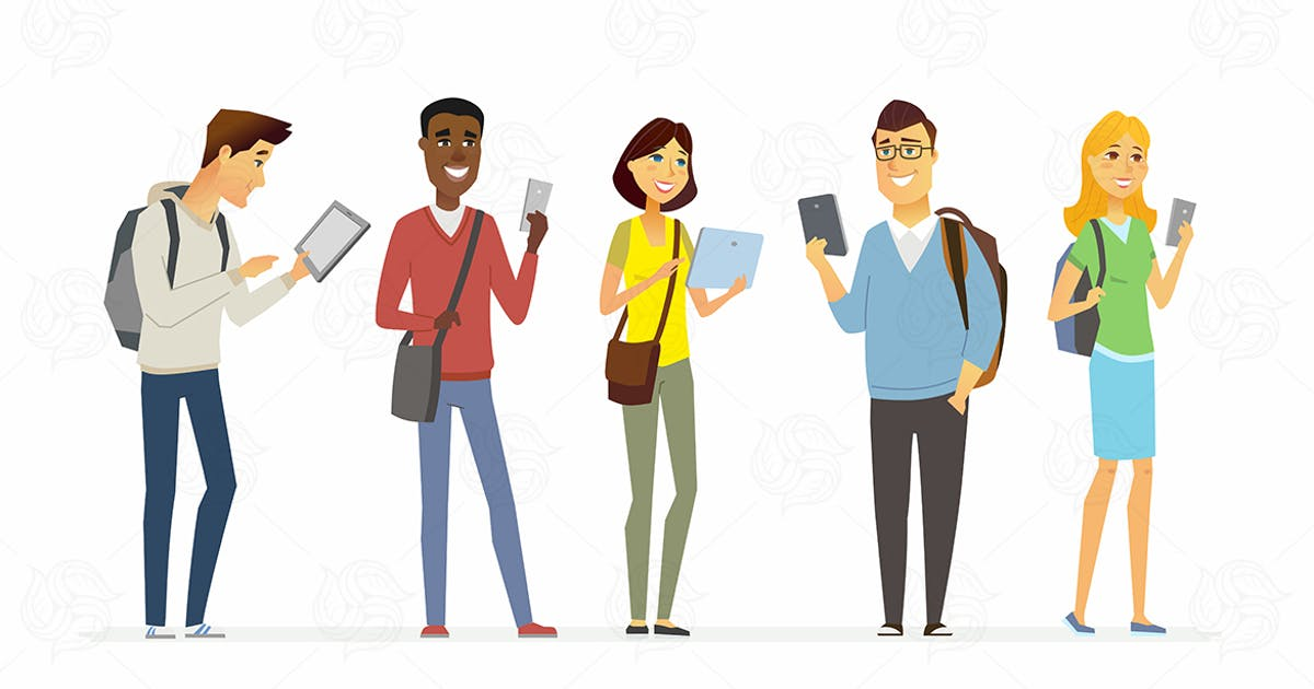Download Happy students checking their phones by BoykoPictures