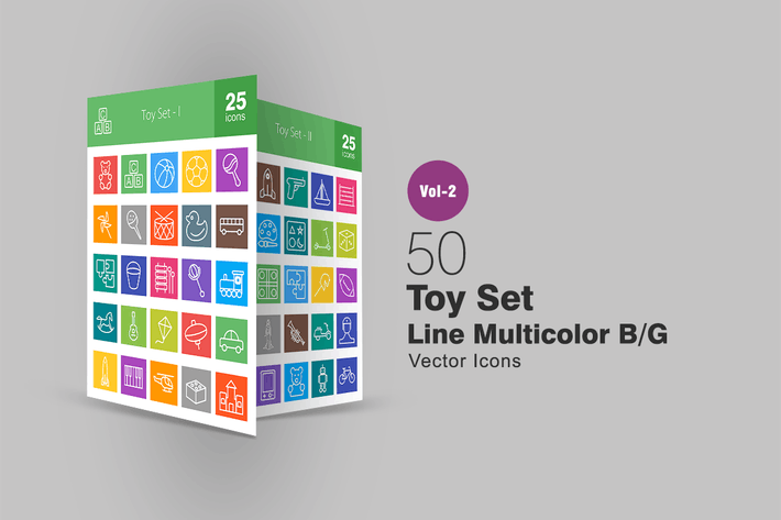 Thumbnail for 50 Toy Set Line Multicolor Icons