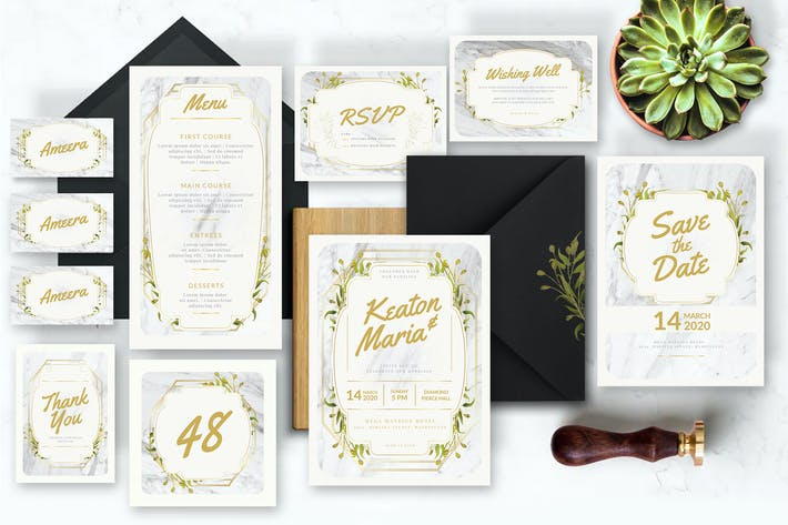 Elegant Gold and White Marble - Wedding Invitation