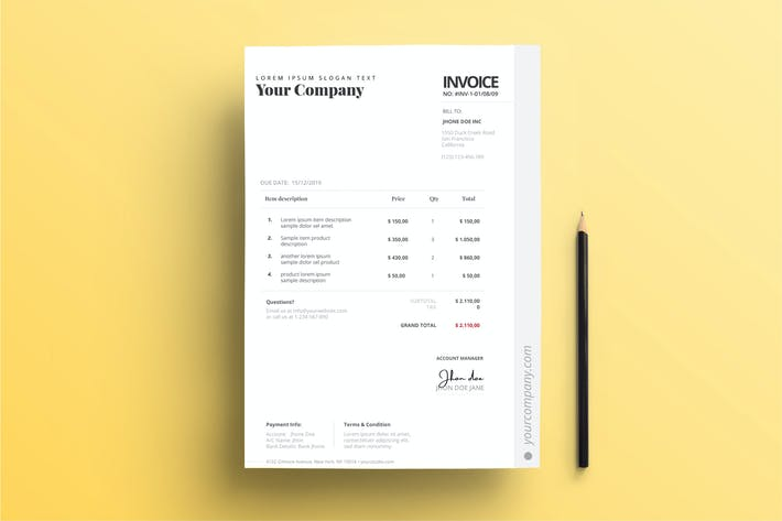 Thumbnail for Invoice for Business with Soft Grey and Red